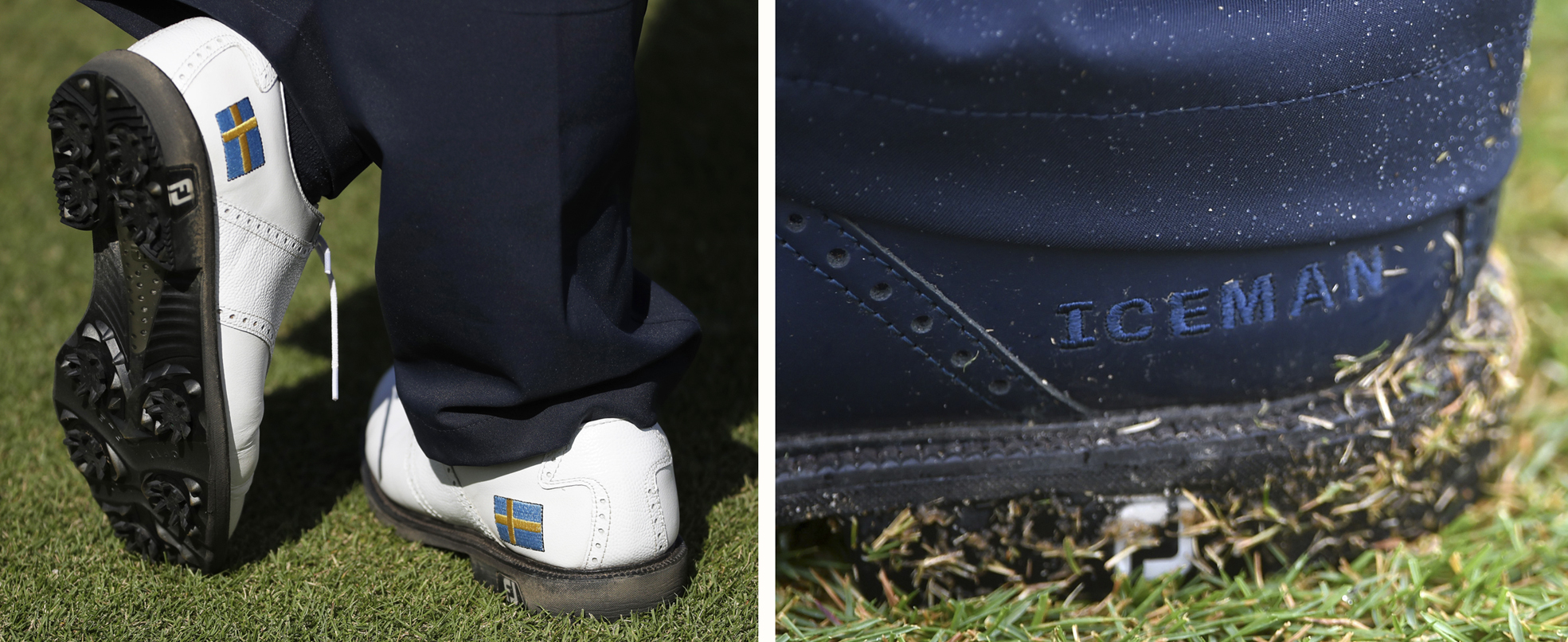 Henrik Stenson, of Sweden, wears the Swedish flag on his golf shoes as he stands on the 13th green during the first round of the men's golf event at the 2016 Summer Olympics in Rio de Janeiro, Brazil, Thursday, Aug. 11, 2016. (AP Photo/Chris Carlson)